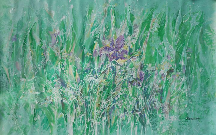 Large floral painting i008 - Abstract art