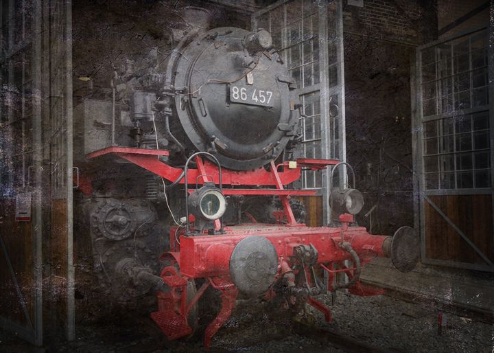 LOCOMOTIVES ON THE RAILS IN DEPOT. - Abstract art