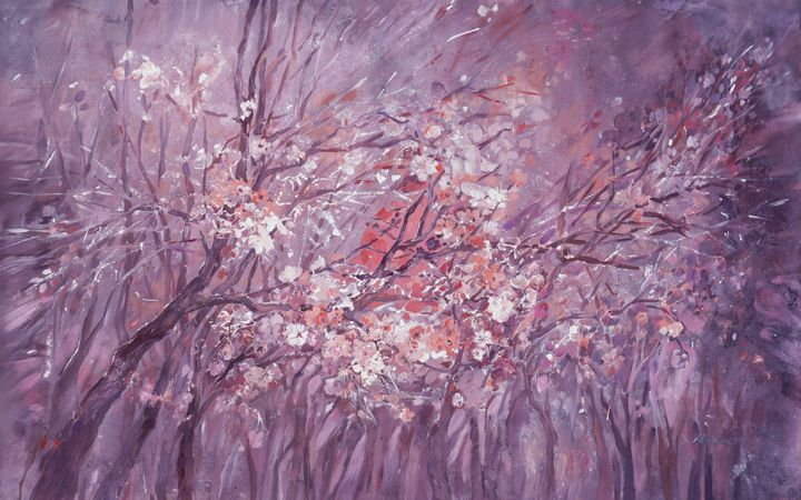 Large blossoms painting 100x160cm - Abstract art