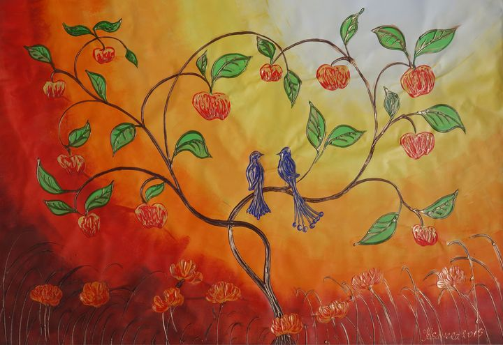 Apple Tree with love birds B068 - Abstract art