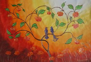 Apple Tree with love birds B068