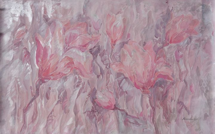 Large floral painting i005 - Abstract art