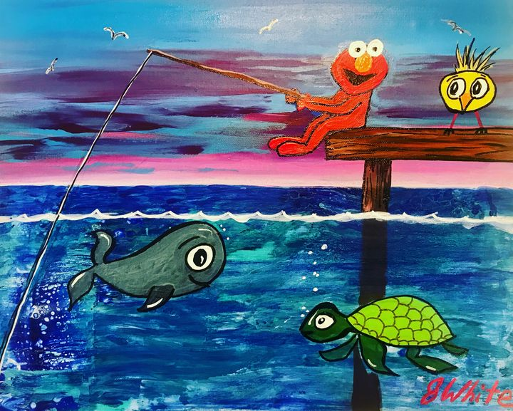 Elmo goes fishing   Free shipping US - Unemployed Artist