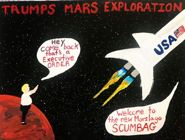 Trumps Space Trip Free Shipping USA - Unemployed Artist