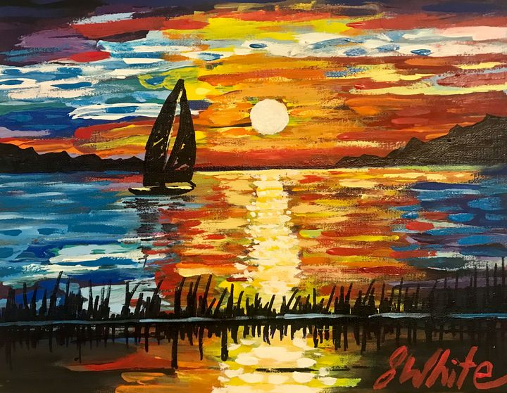 Sailing at sunset Free Shipping USA - Unemployed Artist