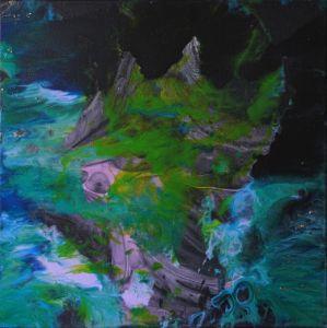 """""""Japanese DRAGON""""green blue abstract - Palirina"""