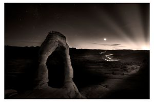SUNSET,MOONSET,STARS, DELICATE ARCH