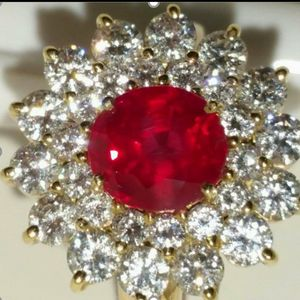 LADYS RUBY AND DIAMOND RING