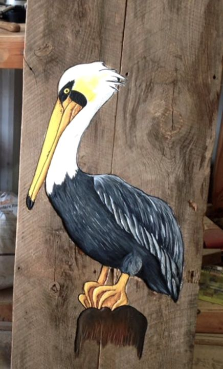 Pelican on Wood - OBX Expressions
