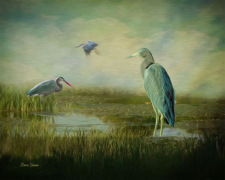 Blue Heron Meeting Place Painting - Heart and Soul Art by Dawn Gemme