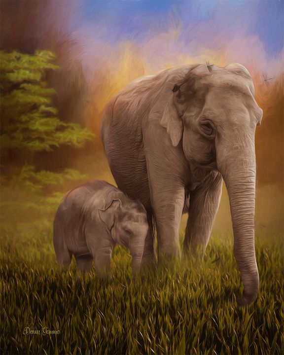 Elephants Digital Oil Painting - Heart and Soul Art by Dawn Gemme