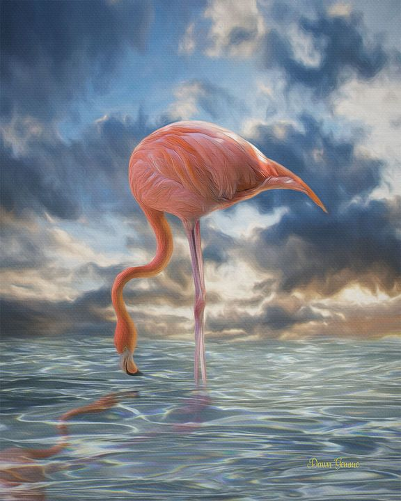 Flamingo Reflection Digital Painting - Heart and Soul Art by Dawn Gemme