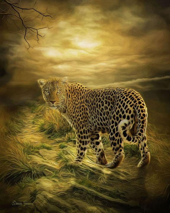 Leopard Storm Wildlife Painting - Heart and Soul Art by Dawn Gemme