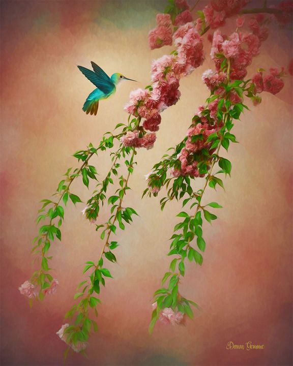 Hummingbird Digital Oil Painting - Heart and Soul Art by Dawn Gemme