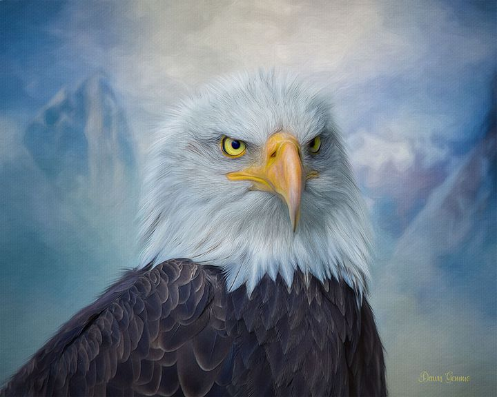 Majestic Eagle Digital Oil Painting - Heart and Soul Art by Dawn Gemme