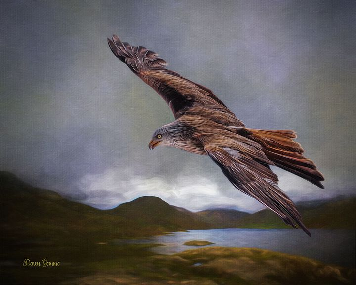 Flying Eagle Wildlife Painting - Heart and Soul Art by Dawn Gemme