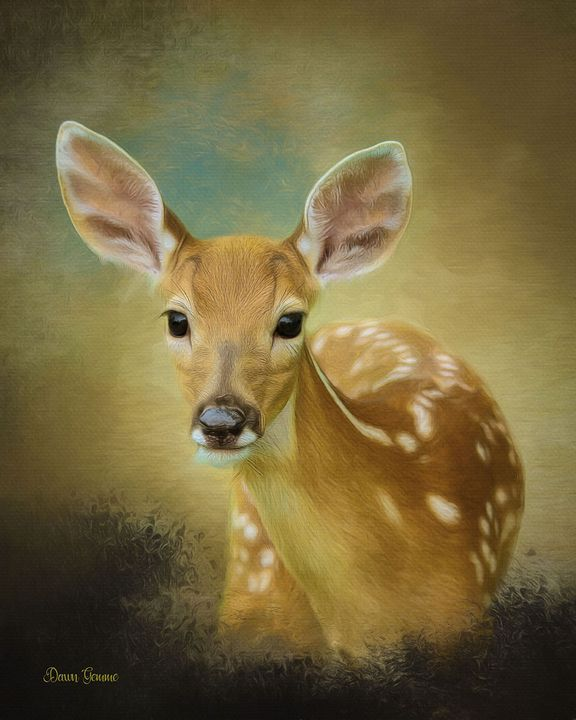 Peeking Fawn Digital Oil Painting - Heart and Soul Art by Dawn Gemme