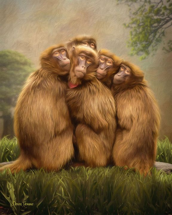Baboon Huddle Digital Oil Painting - Heart and Soul Art by Dawn Gemme