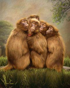 Baboon Huddle Digital Oil Painting