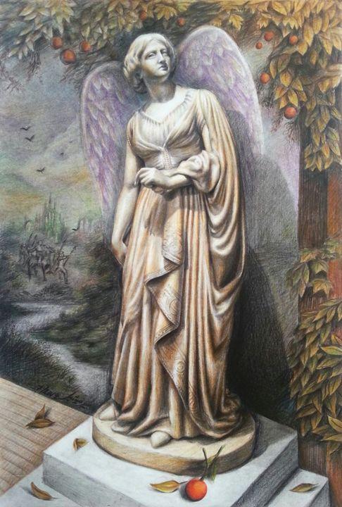 Lady Godiva, pastels & colored penci - Pierre Michel artwork