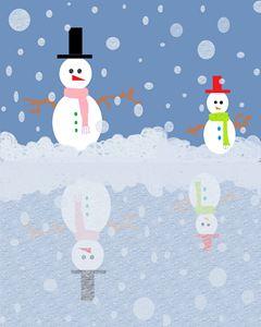 Snow man ICE as mirror