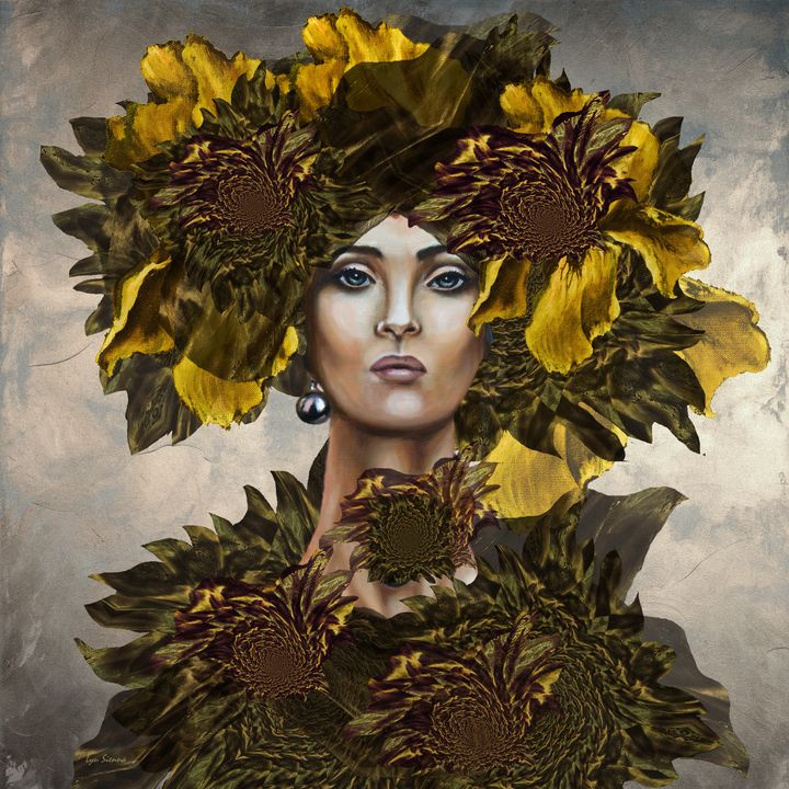 """Girl, yellow irises and sunflowers"" - Lyu Sienna"