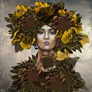 """""""Girl, yellow irises and sunflowers"""""""