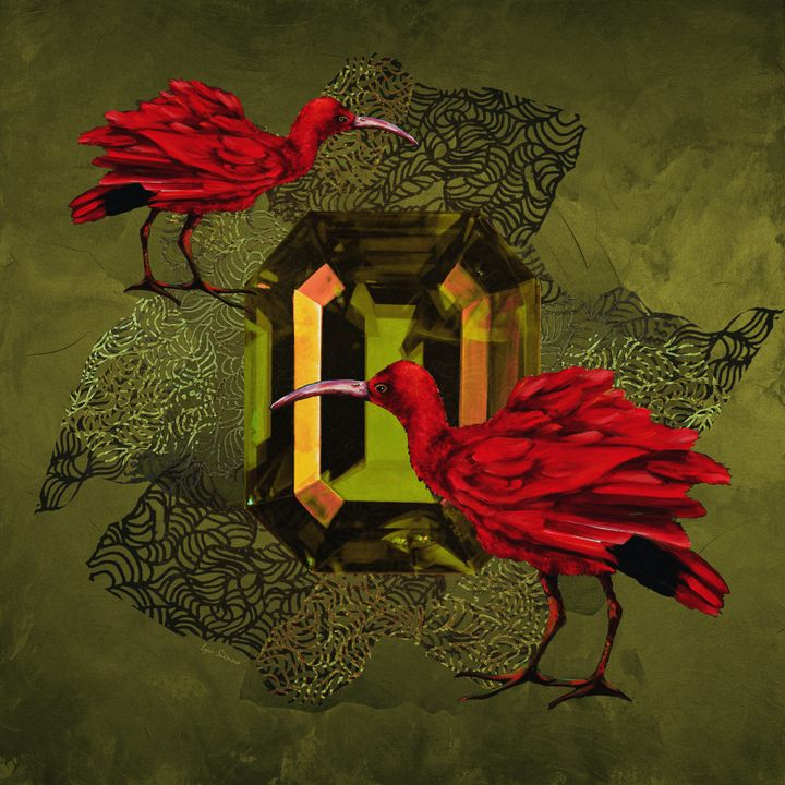 """""""Red ibises and green crystal"""" - Lyu Sienna"""