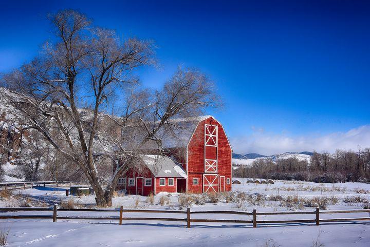 Red Barn in Winter - Aspen Ridge Gallery