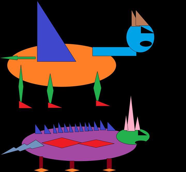 The Colourful Dinosaurs - Brandon's Original Art Gallery