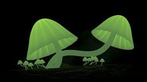 Light emitting green mushrooms