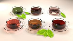 Tea cups with different tea hues