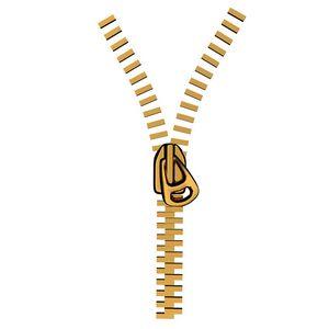 Stylized metal zipper