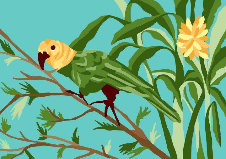 Parrot in banana trees - KatSerio