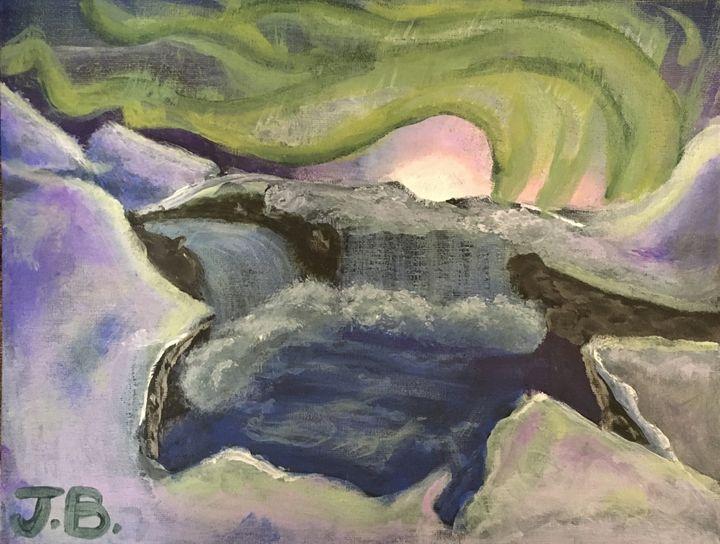 Northern lights over an artic canyon - ArtOfDeshawn