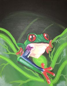 Tree frog in the leaves