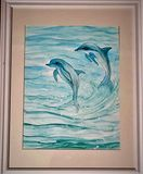 alcohol ink painting of Dolphins