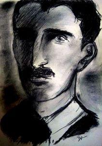 Nikola Tesla Artsy Portrait - Delphine Tesla Art 369