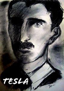 Nikola Tesla Arsty Charcoal Portrait