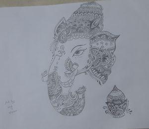 Lord Ganesha using mandala art
