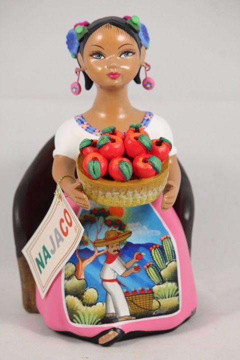 Lupita Doll Sitting Apple Basket Pin - Wandering Gypsy