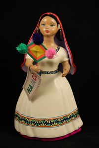 Huichola Indian Lupita Doll Figurine - POCHTECA