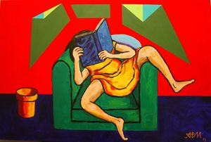 The girl in yellow reading