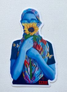 Sunflower revolution girl sticker