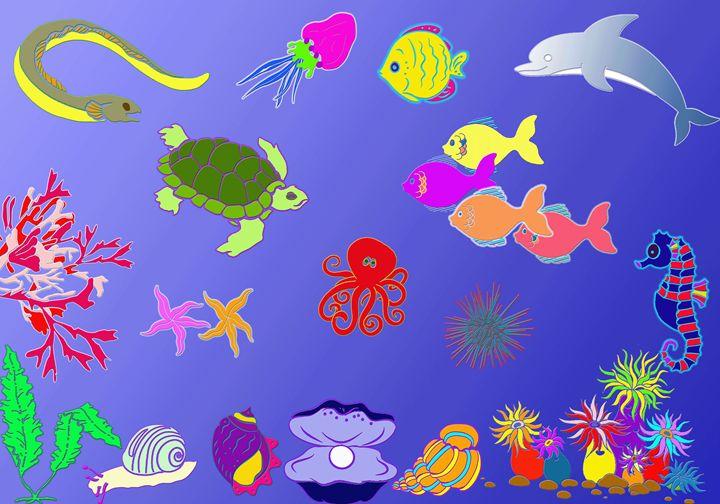 colorful ocean floor - Fond of arts