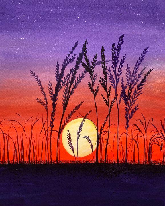 Reeds At Sunset - Art Alesia