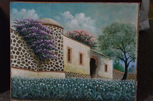 Mexican Hacienda Oil Painting - AlejandroGarcia