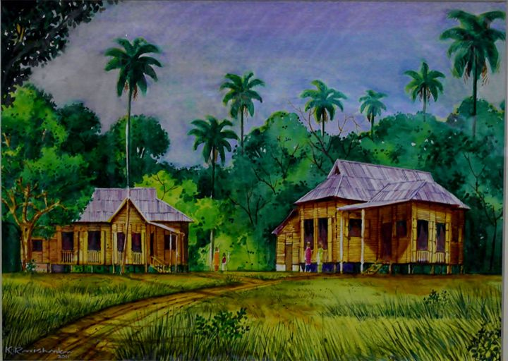 TRADITIONAL MALAY HOUSE 3 - Ravi Shankar's Art Gallery