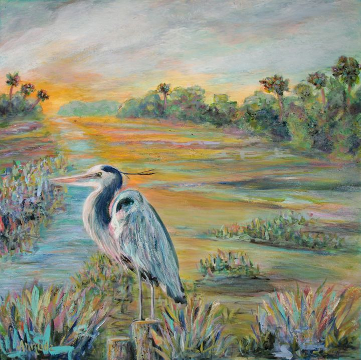Blue Heron - Decorative Impressions by Ann Lutz