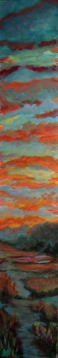 Sunset over river - Decorative Impressions by Ann Lutz
